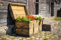 Old wooden treasure chest filled with blooming flowers standing in front of an building Royalty Free Stock Images