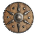 Old wooden vikings` shield isolated 3d illustration Royalty Free Stock Photo