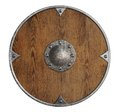 Old wooden vikings' shield isolated Royalty Free Stock Photo