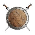 Old wooden vikings' shield and two swords isolated Royalty Free Stock Photo