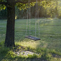 Old wooden vintage garden swing hanging from a large tree on green grass background in golden evening sunlight Royalty Free Stock Image