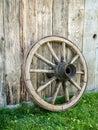 Old wooden wagon wheel Royalty Free Stock Photo