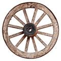 Old wooden wagon wheel on white background Royalty Free Stock Photo