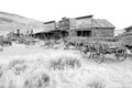 Old wooden wagons in a ghost town cody wyoming united states black and white version Stock Photography