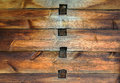 Old wooden wall with joints texture of mortise and tenon joint Stock Image