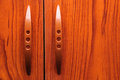 Old wooden wardrobe doors close up Stock Photography