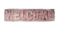 Old wooden welcome sign isolated on white background Royalty Free Stock Photo