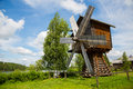 Old wooden windmill in the countryside in Russia Royalty Free Stock Photo