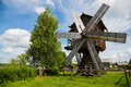 Old wooden windmill in countryside in Russia Royalty Free Stock Photo
