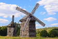 Old wooden windmills Royalty Free Stock Photo