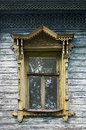 Old wooden window with carved platbands tutaev russia Stock Images