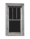 Old wooden window isolated weathered gray wood with no glass on white Stock Image