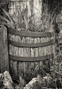 Old wooden wine cask at a farmhouse Stock Photos