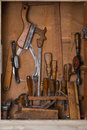 Old woodworking tools in carpentry shelf Stock Image