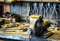 Old workbench at an antique workshop Royalty Free Stock Photo