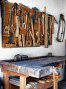 Old workbench at a repair shop Royalty Free Stock Image