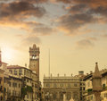 Old world charm europen square in muted tones with soft cloudy skyscape above Stock Photos