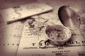 Old world map and compass Royalty Free Stock Photo