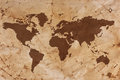 Old World map on creased and stained parchment paper Stock Image