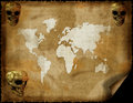 Old world map on grunge retro paper Stock Photos