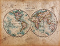 Old World Map in Hemispheres Royalty Free Stock Photo
