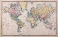 Old World Map on Mercators Projection Royalty Free Stock Photo