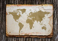 Old world map on paper Stock Image