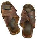 Old worn out beach sandals Royalty Free Stock Photography