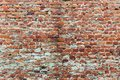 Old and worn-out brick wall of red color Royalty Free Stock Photo