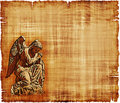 An old worn parchment featuring an angel in prayer digital image Royalty Free Stock Photography