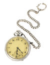 Old worn pocket watch isolated white background Stock Image