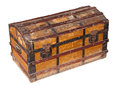 Old worn trunk and dirty wooden with metal protection isolated with clipping path Royalty Free Stock Photo