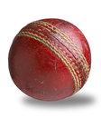 Old worn used cricket ball path Stock Image