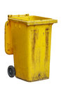 Old yellow bin on white background Royalty Free Stock Photo