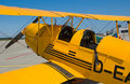 Old yellow biplane Stock Photos
