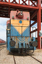 Old yellow diesel locomotive close up Stock Image