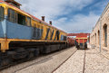 Old yellow diesel locomotive close up Royalty Free Stock Photos