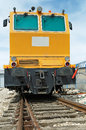 Old yellow diesel locomotive close up Stock Photo