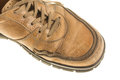 Old yellow leather boot. Royalty Free Stock Photo
