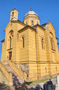 Old yellow neo romanticism church at gardos zemun landscape of an the quarter of serbia the is constructed in Stock Image