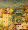Old yellow village houses an oil painting on canvas of vivid with narrow streets spreaded over a hill with dark grey sky Stock Photo