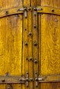 Old Yellow Wooden Double Doors Royalty Free Stock Images
