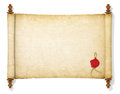 The old and yellowed scroll paper with wax seal Royalty Free Stock Photography