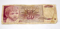 Old yugoslavian dinars paper money picture of a Royalty Free Stock Photo