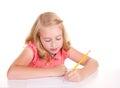 Older child or teenager doing math Stock Image