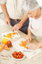 Older couple cutting vegetables in the kitchen Royalty Free Stock Photo