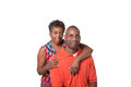 Older couple full length portrait of an standing close isolated Stock Photography
