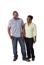 Older couple full length portrait of an standing close isolated Stock Images