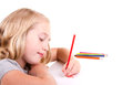 Older girl or teen drawing a flower Stock Images