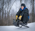 image photo : Older Man Tobogganing